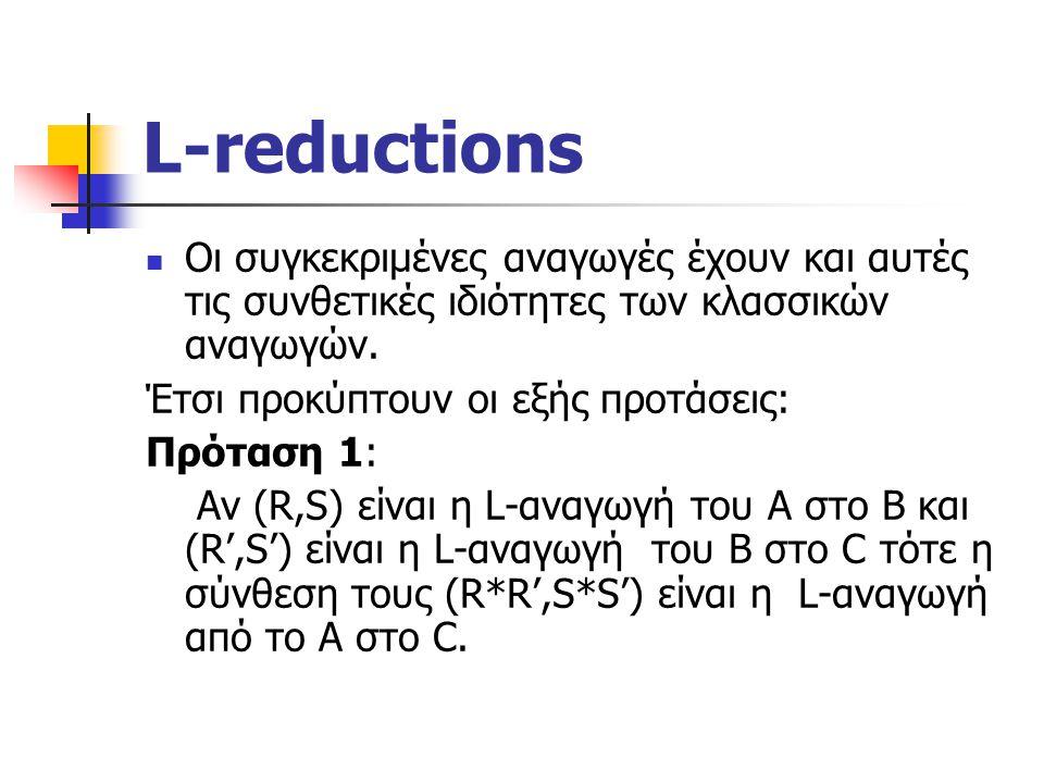 L-reductions Οι συγκεκριμένες αναγωγές έχουν και αυτές τις συνθετικές ιδιότητες των κλασσικών αναγωγών.