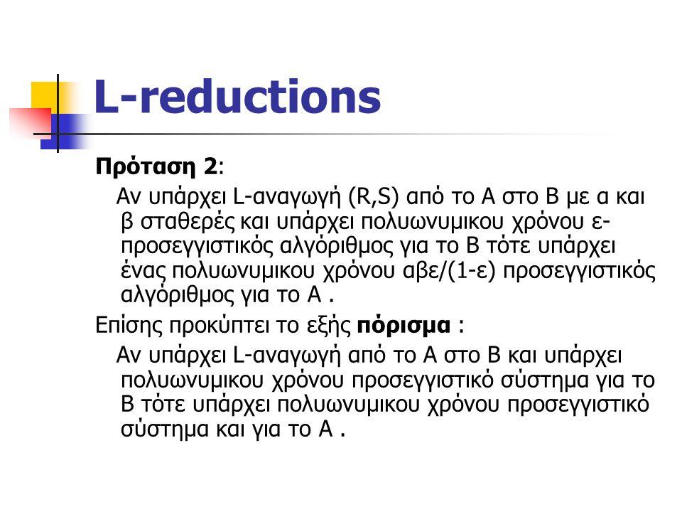 L-reductions Πρόταση 2: Αν υπάρχει L-αναγωγή (R,S) από το Α στο Β με α και β σταθερές και υπάρχει πολυωνυμικου χρόνου ε- προσεγγιστικός αλγόριθμος για το Β τότε υπάρχει ένας πολυωνυμικου χρόνου αβε/(1-ε) προσεγγιστικός αλγόριθμος για το Α.