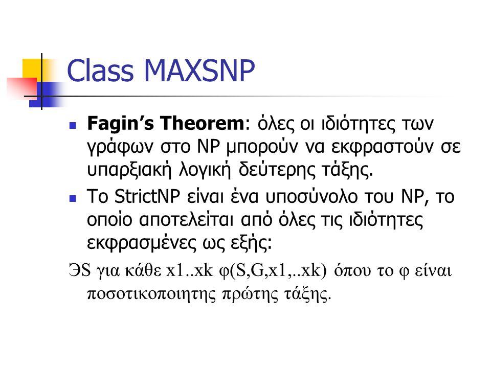 Class MAXSNP Fagin's Theorem: όλες οι ιδιότητες των γράφων στο NP μπορούν να εκφραστούν σε υπαρξιακή λογική δεύτερης τάξης.