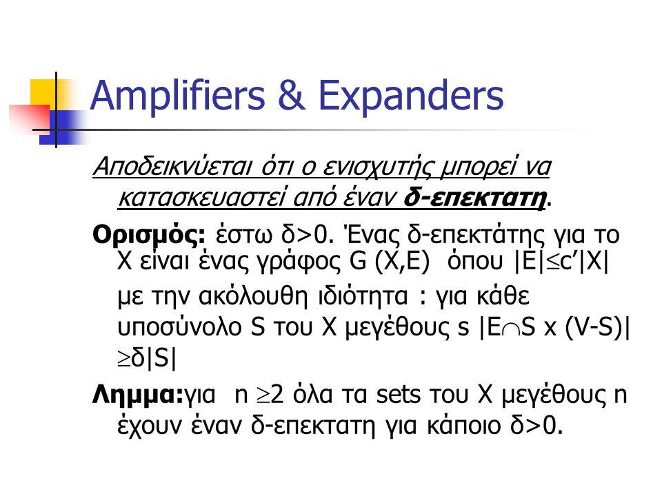 Amplifiers & Expanders Αποδεικνύεται ότι ο ενισχυτής μπορεί να κατασκευαστεί από έναν δ-επεκτατη.