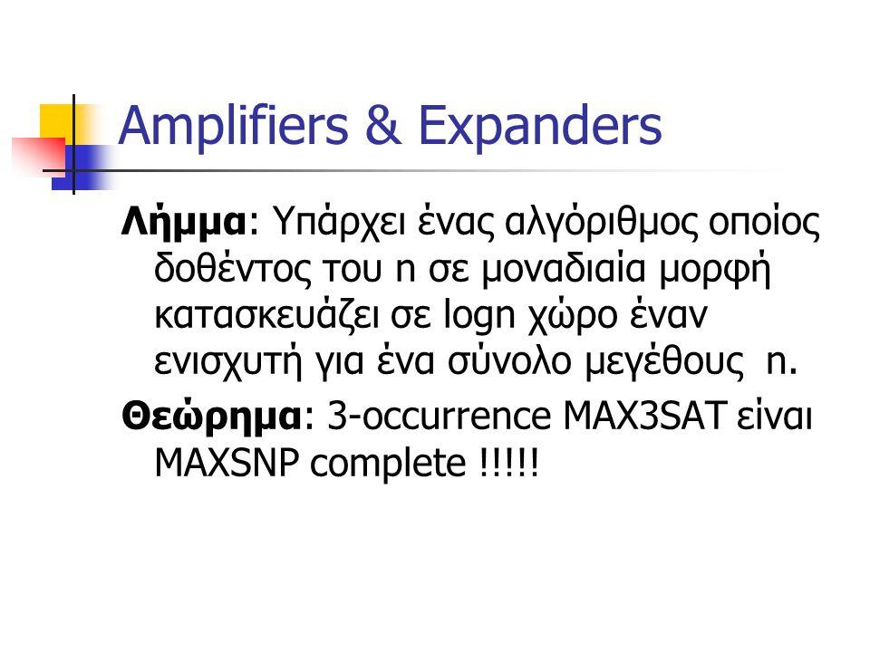 Amplifiers & Expanders Λήμμα: Υπάρχει ένας αλγόριθμος οποίος δοθέντος του n σε μοναδιαία μορφή κατασκευάζει σε logn χώρο έναν ενισχυτή για ένα σύνολο μεγέθους n.