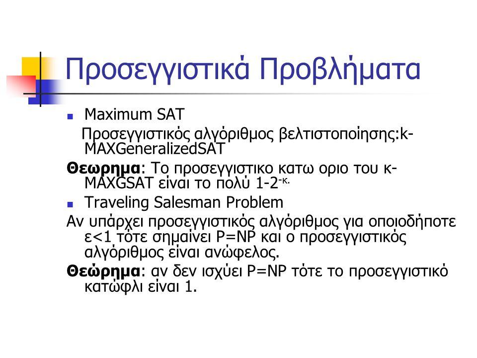 Προσεγγιστικά Προβλήματα Μaximum SAT Προσεγγιστικός αλγόριθμος βελτιστοποίησης:k- MAXGeneralizedSAT Θεωρημα: Το προσεγγιστικο κατω οριο του κ- MAXGSAT είναι το πολύ 1-2 -κ.