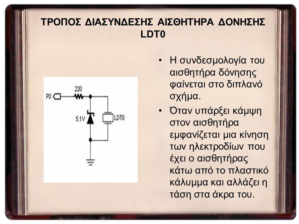 ΤΡΟΠΟΣ ΔΙΑΣΥΝΔΕΣΗΣ ΑΙΣΘΗΤΗΡΑ ΔΟΝΗΣΗΣ LDT0 Η συνδεσμολογία του αισθητήρα δόνησης φαίνεται στο διπλανό σχήμα. Όταν υπάρξει κάμψη στον αισθητήρα εμφανίζε