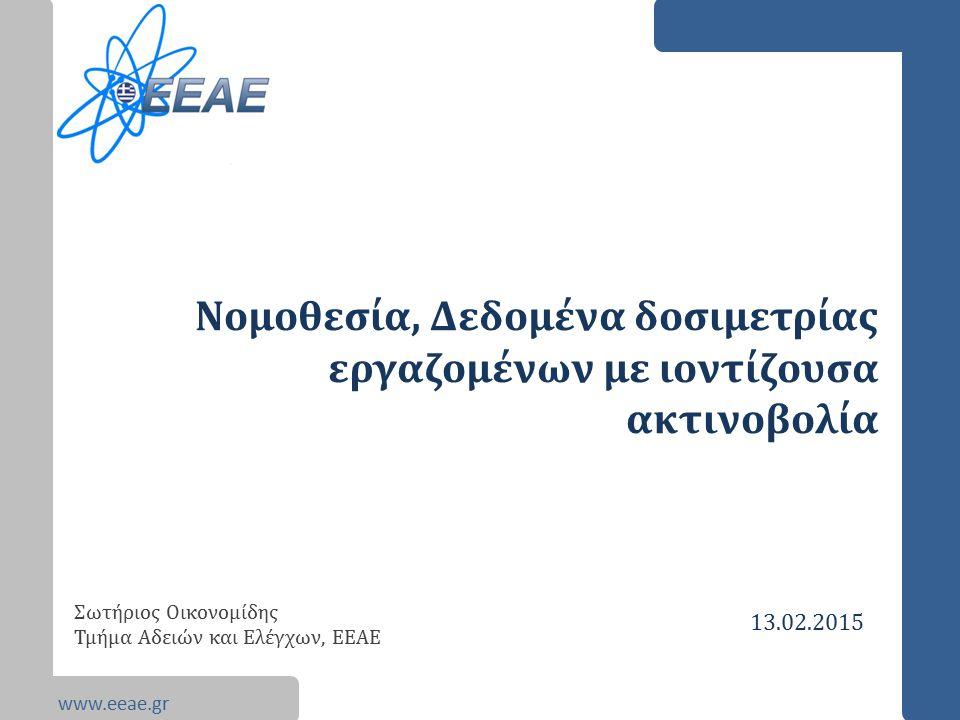www.eeae.gr Νομοθεσία, Δεδομένα δοσιμετρίας εργαζομένων με ιοντίζουσα ακτινοβολία Σωτήριος Οικονομίδης Τμήμα Αδειών και Ελέγχων, ΕΕΑΕ 13.02.2015