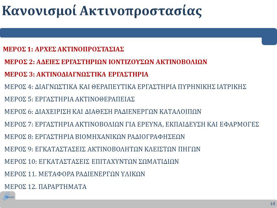 Κανονισμοί Ακτινοπροστασίας 10 ΜΕΡΟΣ 1: ΑΡΧΕΣ ΑΚΤΙΝΟΠΡΟΣΤΑΣΙΑΣ ΜΕΡΟΣ 2: ΑΔΕΙΕΣ ΕΡΓΑΣΤΗΡΙΩΝ ΙΟΝΤΙΖΟΥΣΩΝ ΑΚΤΙΝΟΒΟΛΙΩΝ ΜΕΡΟΣ 3: ΑΚΤΙΝΟΔΙΑΓΝΩΣΤΙΚΑ ΕΡΓΑΣΤΗΡΙΑ ΜΕΡΟΣ 4: ΔΙΑΓΝΩΣΤΙΚΑ ΚΑΙ ΘΕΡΑΠΕΥΤΙΚΑ ΕΡΓΑΣΤΗΡΙΑ ΠΥΡΗΝΙΚΗΣ ΙΑΤΡΙΚΗΣ ΜΕΡΟΣ 5: ΕΡΓΑΣΤΗΡΙΑ ΑΚΤΙΝΟΘΕΡΑΠΕΙΑΣ ΜΕΡΟΣ 6: ΔΙΑΧΕΙΡΙΣΗ ΚΑΙ ΔΙΑΘΕΣΗ ΡΑΔΙΕΝΕΡΓΩΝ ΚΑTΑΛΟΙΠΩΝ ΜΕΡΟΣ 7: ΕΡΓΑΣTΗΡΙΑ ΑΚTΙΝΟΒΟΛΙΩΝ ΓΙΑ ΕΡΕYΝΑ, ΕΚΠΑΙΔΕYΣΗ ΚΑΙ ΕΦΑΡΜΟΓΕΣ ΜΕΡΟΣ 8: ΕΡΓΑΣTΗΡΙΑ ΒΙΟΜΗΧΑΝΙΚΩΝ ΡΑΔΙΟΓΡΑΦΗΣΕΩΝ ΜΕΡΟΣ 9: ΕΓΚΑTΑΣTΑΣΕΙΣ ΑΚTΙΝΟΒΟΛΗTΩΝ ΚΛΕΙΣTΩΝ ΠΗΓΩΝ ΜΕΡΟΣ 10: ΕΓΚΑTΑΣTΑΣΕΙΣ ΕΠΙTΑΧYΝTΩΝ ΣΩΜΑTΙΔΙΩΝ ΜΕΡΟΣ 11.
