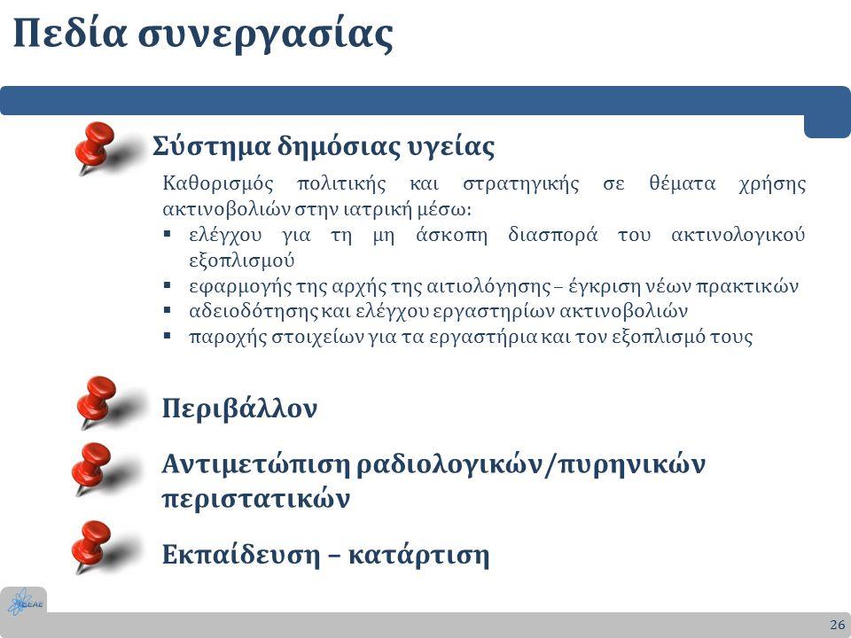Πεδία συνεργασίας 26 Σύστημα δημόσιας υγείας Καθορισμός πολιτικής και στρατηγικής σε θέματα χρήσης ακτινοβολιών στην ιατρική μέσω:  ελέγχου για τη μη άσκοπη διασπορά του ακτινολογικού εξοπλισμού  εφαρμογής της αρχής της αιτιολόγησης – έγκριση νέων πρακτικών  αδειοδότησης και ελέγχου εργαστηρίων ακτινοβολιών  παροχής στοιχείων για τα εργαστήρια και τον εξοπλισμό τους Περιβάλλον Αντιμετώπιση ραδιολογικών/πυρηνικών περιστατικών Εκπαίδευση – κατάρτιση