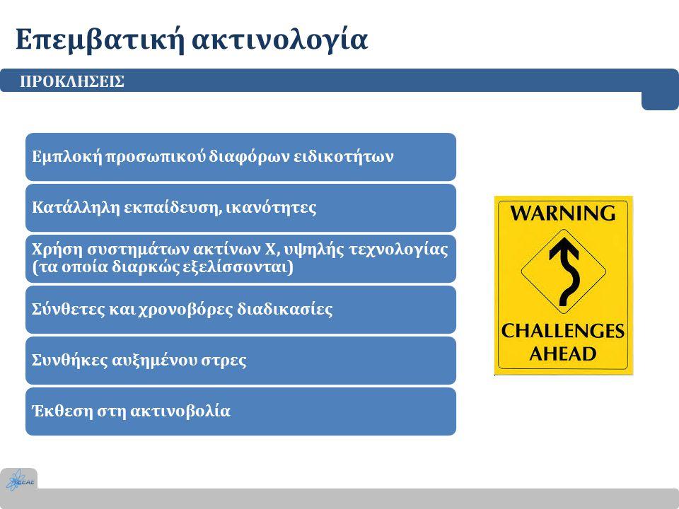Επεμβατική ακτινολογία ΠΡΟΚΛΗΣΕΙΣ Εμπλοκή προσωπικού διαφόρων ειδικοτήτωνΚατάλληλη εκπαίδευση, ικανότητες Χρήση συστημάτων ακτίνων Χ, υψηλής τεχνολογίας (τα οποία διαρκώς εξελίσσονται) Σύνθετες και χρονοβόρες διαδικασίεςΣυνθήκες αυξημένου στρεςΈκθεση στη ακτινοβολία
