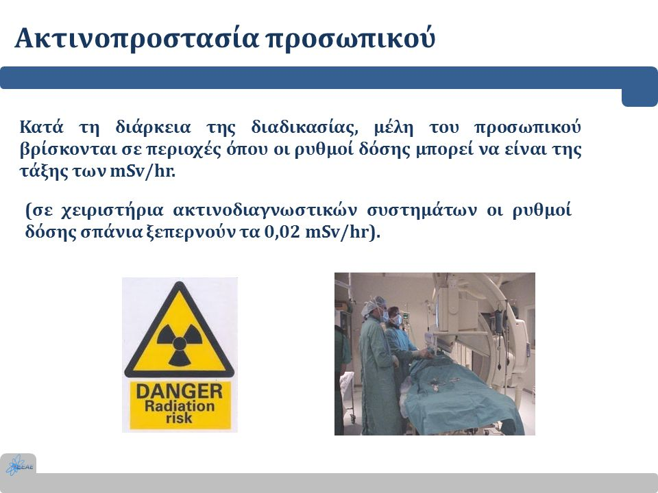 Ακτινοπροστασία προσωπικού Κατά τη διάρκεια της διαδικασίας, μέλη του προσωπικού βρίσκονται σε περιοχές όπου οι ρυθμοί δόσης μπορεί να είναι της τάξης των mSv/hr.