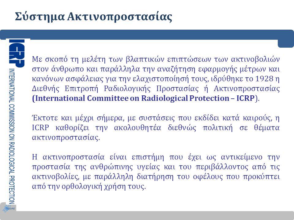 Σύστημα Ακτινοπροστασίας Με σκοπό τη μελέτη των βλαπτικών επιπτώσεων των ακτινοβολιών στον άνθρωπο και παράλληλα την αναζήτηση εφαρμογής μέτρων και κανόνων ασφάλειας για την ελαχιστοποίησή τους, ιδρύθηκε το 1928 η Διεθνής Επιτροπή Ραδιολογικής Προστασίας ή Ακτινοπροστασίας (International Committee on Radiological Protection – ICRP).