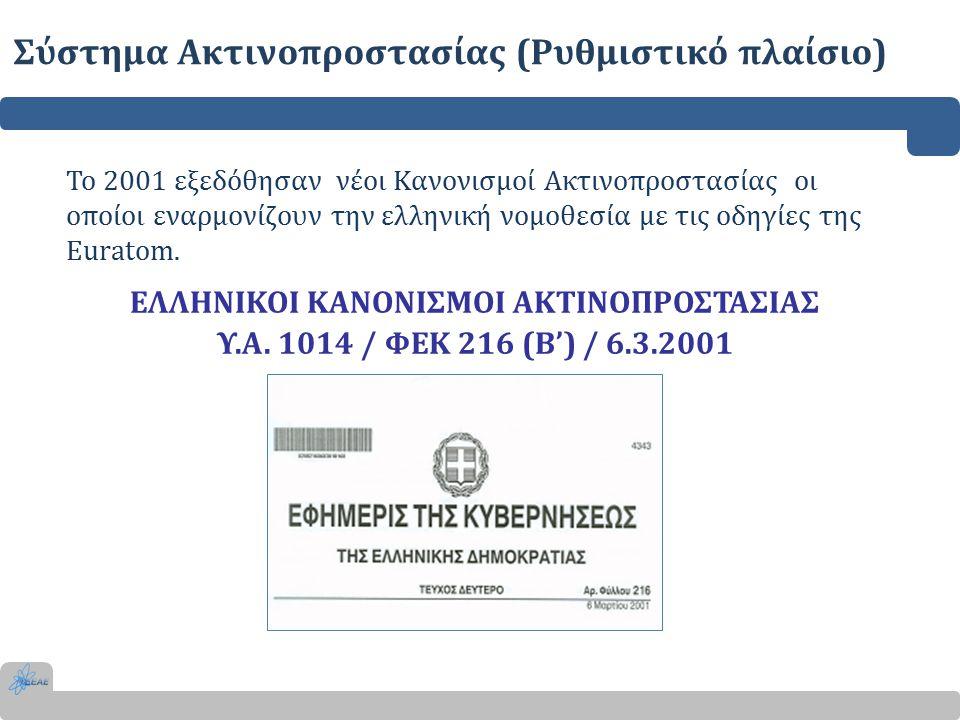 ΕΛΛΗΝΙΚΟΙ ΚΑΝΟΝΙΣΜΟΙ ΑΚΤΙΝΟΠΡΟΣΤΑΣΙΑΣ Υ.Α. 1014 / ΦΕΚ 216 (Β') / 6.3.2001 Το 2001 εξεδόθησαν νέοι Κανονισμοί Ακτινοπροστασίας οι οποίοι εναρμονίζουν τ