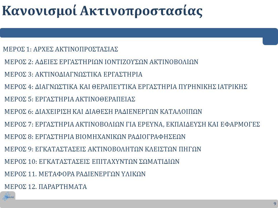 Κανονισμοί Ακτινοπροστασίας 9 ΜΕΡΟΣ 1: ΑΡΧΕΣ ΑΚΤΙΝΟΠΡΟΣΤΑΣΙΑΣ ΜΕΡΟΣ 2: ΑΔΕΙΕΣ ΕΡΓΑΣΤΗΡΙΩΝ ΙΟΝΤΙΖΟΥΣΩΝ ΑΚΤΙΝΟΒΟΛΙΩΝ ΜΕΡΟΣ 3: ΑΚΤΙΝΟΔΙΑΓΝΩΣΤΙΚΑ ΕΡΓΑΣΤΗΡΙΑ ΜΕΡΟΣ 4: ΔΙΑΓΝΩΣΤΙΚΑ ΚΑΙ ΘΕΡΑΠΕΥΤΙΚΑ ΕΡΓΑΣΤΗΡΙΑ ΠΥΡΗΝΙΚΗΣ ΙΑΤΡΙΚΗΣ ΜΕΡΟΣ 5: ΕΡΓΑΣΤΗΡΙΑ ΑΚΤΙΝΟΘΕΡΑΠΕΙΑΣ ΜΕΡΟΣ 6: ΔΙΑΧΕΙΡΙΣΗ ΚΑΙ ΔΙΑΘΕΣΗ ΡΑΔΙΕΝΕΡΓΩΝ ΚΑTΑΛΟΙΠΩΝ ΜΕΡΟΣ 7: ΕΡΓΑΣTΗΡΙΑ ΑΚTΙΝΟΒΟΛΙΩΝ ΓΙΑ ΕΡΕYΝΑ, ΕΚΠΑΙΔΕYΣΗ ΚΑΙ ΕΦΑΡΜΟΓΕΣ ΜΕΡΟΣ 8: ΕΡΓΑΣTΗΡΙΑ ΒΙΟΜΗΧΑΝΙΚΩΝ ΡΑΔΙΟΓΡΑΦΗΣΕΩΝ ΜΕΡΟΣ 9: ΕΓΚΑTΑΣTΑΣΕΙΣ ΑΚTΙΝΟΒΟΛΗTΩΝ ΚΛΕΙΣTΩΝ ΠΗΓΩΝ ΜΕΡΟΣ 10: ΕΓΚΑTΑΣTΑΣΕΙΣ ΕΠΙTΑΧYΝTΩΝ ΣΩΜΑTΙΔΙΩΝ ΜΕΡΟΣ 11.