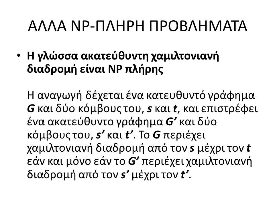 ΑΛΛΑ NP-ΠΛΗΡΗ ΠΡΟΒΛΗΜΑΤΑ Η γλώσσα ακατεύθυντη χαμιλτονιανή διαδρομή είναι ΝΡ πλήρης Η αναγωγή δέχεται ένα κατευθυντό γράφημα G και δύο κόμβους του, s και t, και επιστρέφει ένα ακατεύθυντο γράφημα G' και δύο κόμβους του, s' και t'.