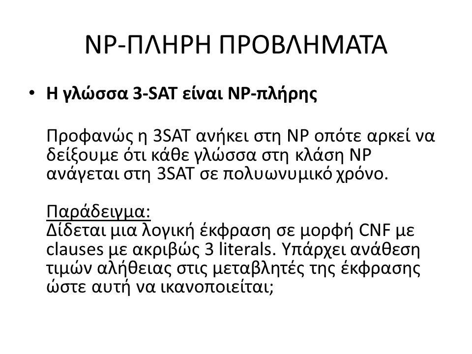 NP-ΠΛΗΡΗ ΠΡΟΒΛΗΜΑΤΑ Η γλώσσα 3-SAT είναι NP-πλήρης Προφανώς η 3SAT ανήκει στη NP οπότε αρκεί να δείξουμε ότι κάθε γλώσσα στη κλάση NP ανάγεται στη 3SAT σε πολυωνυμικό χρόνο.