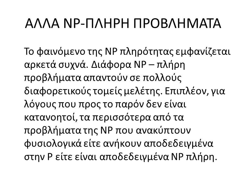 ΑΛΛΑ NP-ΠΛΗΡΗ ΠΡΟΒΛΗΜΑΤΑ Το φαινόμενο της ΝP πληρότητας εμφανίζεται αρκετά συχνά.