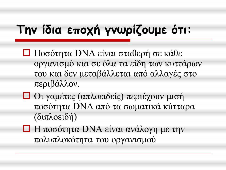 Την ίδια εποχή γνωρίζουμε ότι:  Ποσότητα DNA είναι σταθερή σε κάθε οργανισμό και σε όλα τα είδη των κυττάρων του και δεν μεταβάλλεται από αλλαγές στο