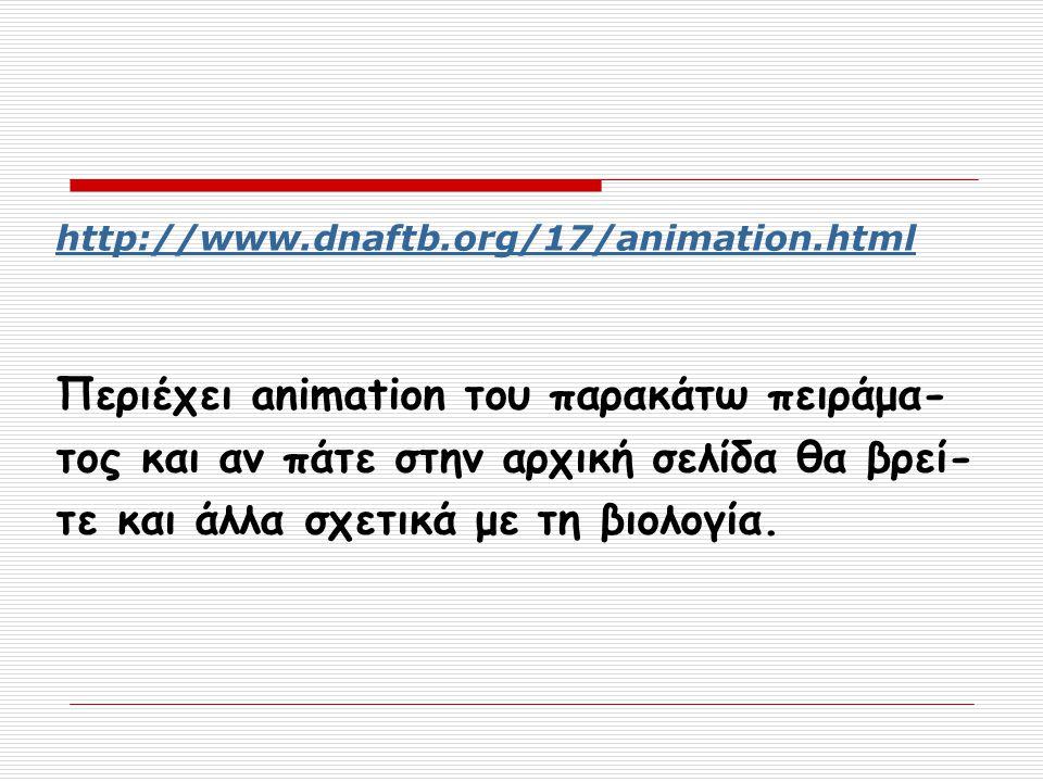 http://www.dnaftb.org/17/animation.html Περιέχει animation του παρακάτω πειράμα- τος και αν πάτε στην αρχική σελίδα θα βρεί- τε και άλλα σχετικά με τη