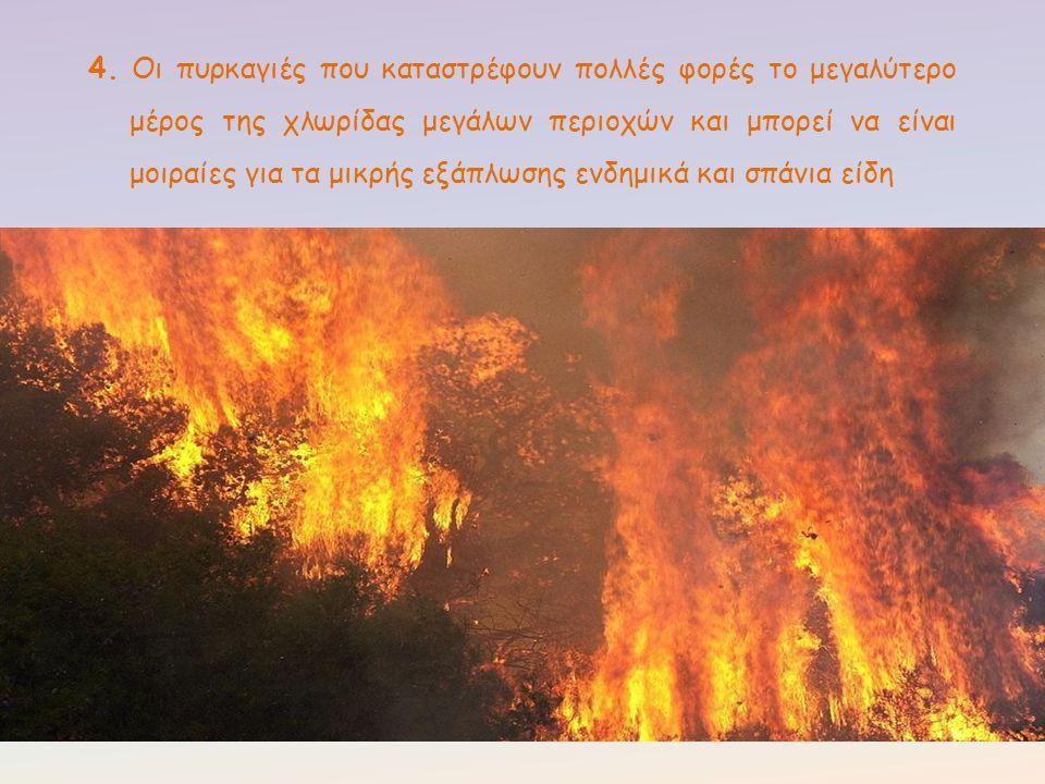 4. Οι πυρκαγιές που καταστρέφουν πολλές φορές το μεγαλύτερο μέρος της χλωρίδας μεγάλων περιοχών και μπορεί να είναι μοιραίες για τα μικρής εξάπλωσης ε
