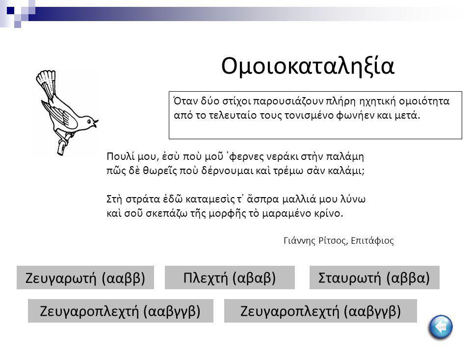 Ομοιοκαταληξία Ζευγαρωτή (ααββ) Πλεχτή (αβαβ)Σταυρωτή (αββα) Ζευγαροπλεχτή (ααβγγβ) Όταν δύο στίχοι παρουσιάζουν πλήρη ηχητική ομοιότητα από το τελευτ