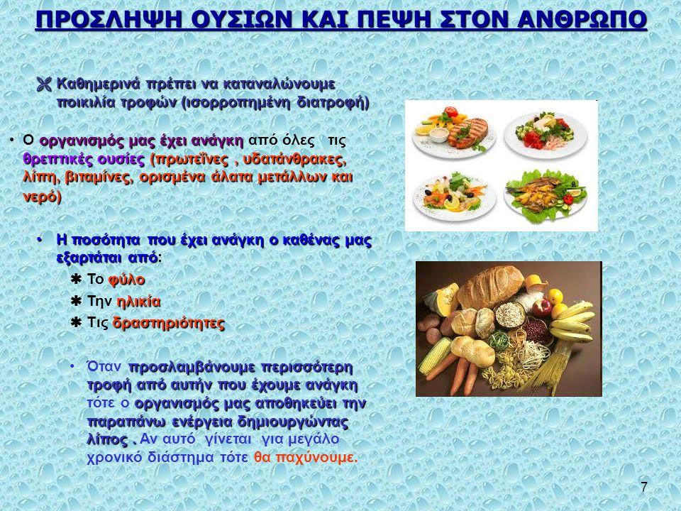7 ΠΡΟΣΛΗΨΗ ΟΥΣΙΩΝ ΚΑΙ ΠΕΨΗ ΣΤOΝ ΑΝΘΡΩΠΟ  Καθημερινά πρέπει να καταναλώνουμε ποικιλία τροφών (ισορροπημένη διατροφή) οργανισμός μας έχει ανάγκη θρεπτι