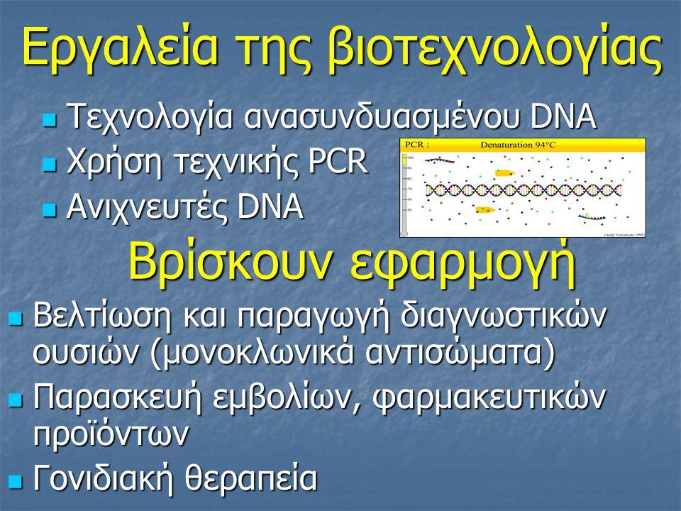 Εργαλεία της βιοτεχνολογίας Τεχνολογία ανασυνδυασμένου DNA Τεχνολογία ανασυνδυασμένου DNA Χρήση τεχνικής PCR Χρήση τεχνικής PCR Ανιχνευτές DNA Ανιχνευτές DNA Βελτίωση και παραγωγή διαγνωστικών ουσιών (μονοκλωνικά αντισώματα) Βελτίωση και παραγωγή διαγνωστικών ουσιών (μονοκλωνικά αντισώματα) Παρασκευή εμβολίων, φαρμακευτικών προϊόντων Παρασκευή εμβολίων, φαρμακευτικών προϊόντων Γονιδιακή θεραπεία Γονιδιακή θεραπεία Βρίσκουν εφαρμογή