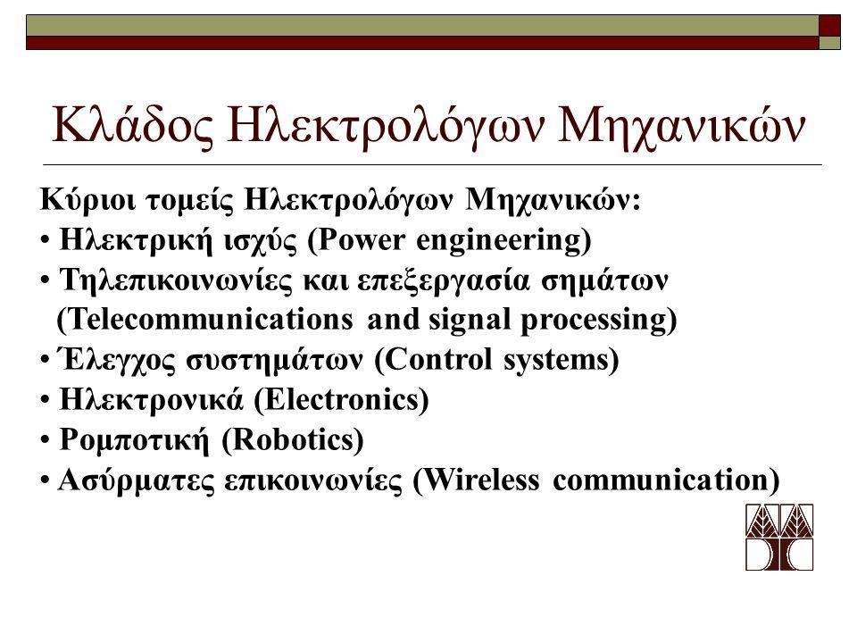 Κλάδος Ηλεκτρολόγων Μηχανικών Κύριοι τομείς Ηλεκτρολόγων Μηχανικών: Ηλεκτρική ισχύς (Power engineering) Τηλεπικοινωνίες και επεξεργασία σημάτων (Telecommunications and signal processing) Έλεγχος συστημάτων (Control systems) Ηλεκτρονικά (Electronics) Ρομποτική (Robotics) Ασύρματες επικοινωνίες (Wireless communication)