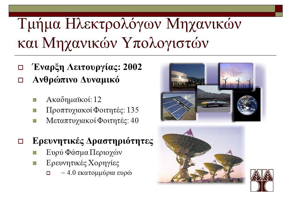 Τμήμα Ηλεκτρολόγων Μηχανικών και Μηχανικών Υπολογιστών  Έναρξη Λειτουργίας: 2002  Ανθρώπινο Δυναμικό Ακαδημαϊκοί: 12 Προπτυχιακοί Φοιτητές: 135 Μετα