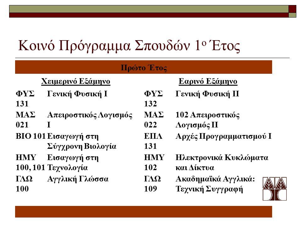 Κοινό Πρόγραμμα Σπουδών 1 ο Έτος Πρώτο Έτος Χειμερινό ΕξάμηνοΕαρινό Εξάμηνο ΦΥΣ 131 Γενική Φυσική IΦΥΣ 132 Γενική Φυσική ΙΙ ΜΑΣ 021 Απειροστικός Λογισμός I ΜΑΣ 022 102 Απειροστικός Λογισμός ΙΙ ΒΙΟ 101Εισαγωγή στη Σύγχρονη Βιολογία ΕΠΛ 131 Αρχές Προγραμματισμού Ι ΗΜΥ 100, 101 Εισαγωγή στη Τεχνολογία ΗΜΥ 102 Ηλεκτρονικά Κυκλώματα και Δίκτυα ΓΛΩ 100 Αγγλική ΓλώσσαΓΛΩ 109 Ακαδημαϊκά Αγγλικά: Τεχνική Συγγραφή
