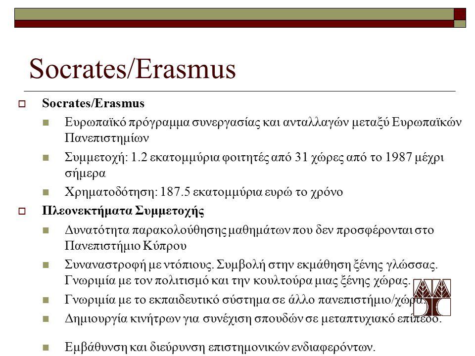 Socrates/Erasmus  Socrates/Erasmus Ευρωπαϊκό πρόγραμμα συνεργασίας και ανταλλαγών μεταξύ Ευρωπαϊκών Πανεπιστημίων Συμμετοχή: 1.2 εκατομμύρια φοιτητές