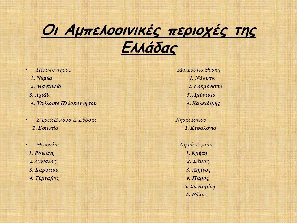 Οι Αμπελοοινικές περιοχές της Ελλάδας Πελοπόννησος  Μακεδονία Θράκη  1. Νεμέα 