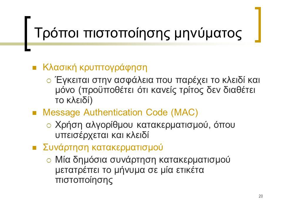 20 Τρόποι πιστοποίησης μηνύματος Κλασική κρυπτογράφηση  Έγκειται στην ασφάλεια που παρέχει το κλειδί και μόνο (προϋποθέτει ότι κανείς τρίτος δεν διαθέτει το κλειδί) Message Authentication Code (MAC)  Χρήση αλγορίθμου κατακερματισμού, όπου υπεισέρχεται και κλειδί Συνάρτηση κατακερματισμού  Μία δημόσια συνάρτηση κατακερματισμού μετατρέπει το μήνυμα σε μία ετικέτα πιστοποίησης