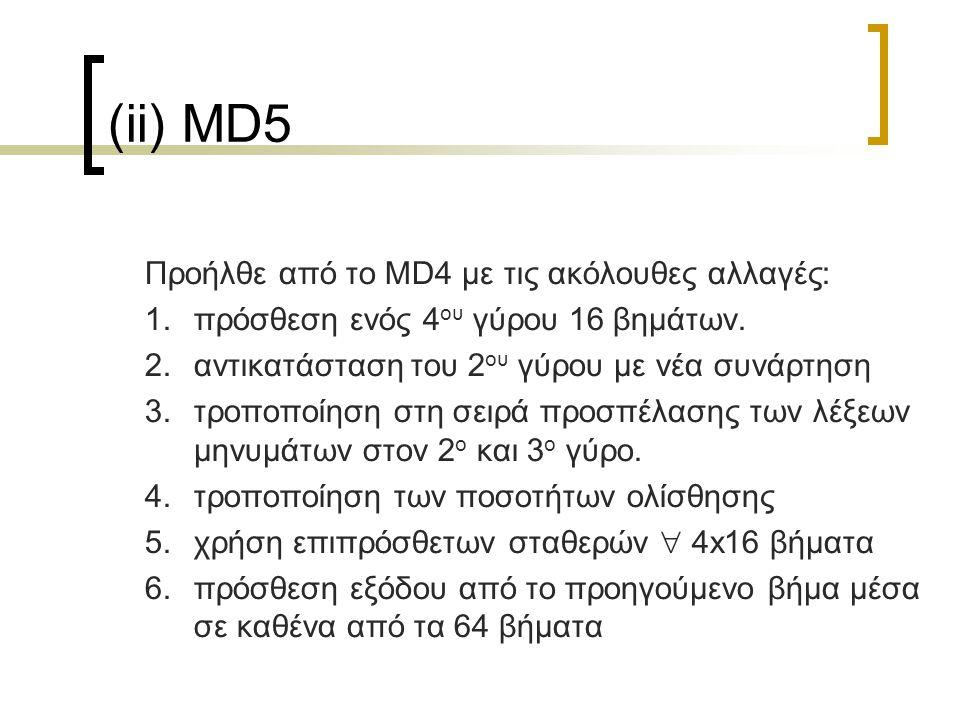 27 (ii) MD5 Προήλθε από το MD4 με τις ακόλουθες αλλαγές: 1.πρόσθεση ενός 4 ου γύρου 16 βημάτων.