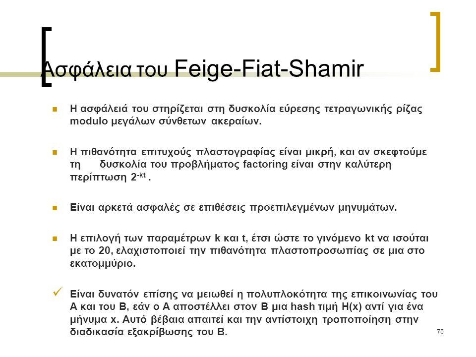 70 Ασφάλεια του Feige-Fiat-Shamir Η ασφάλειά του στηρίζεται στη δυσκολία εύρεσης τετραγωνικής ρίζας modulo μεγάλων σύνθετων ακεραίων.