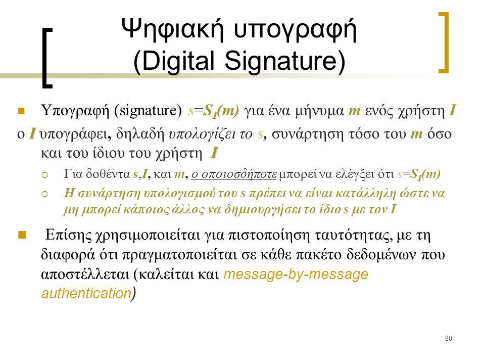80 Ψηφιακή υπογραφή (Digital Signature) I Υπογραφή (signature) s=S I (m) για ένα μήνυμα m ενός χρήστη I I I o I υπογράφει, δηλαδή υπολογίζει το s, συνάρτηση τόσο του m όσο και του ίδιου του χρήστη I I I  Για δοθέντα s,I, και m, ο οποιοσδήποτε μπορεί να ελέγξει ότι s=S I (m)  H συνάρτηση υπολογισμού του s πρέπει να είναι κατάλληλη ώστε να μη μπορεί κάποιος άλλος να δημιουργήσει το ίδιο s με τον I Επίσης χρησιμοποιείται για πιστοποίηση ταυτότητας, με τη διαφορά ότι πραγματοποιείται σε κάθε πακέτο δεδομένων που αποστέλλεται (καλείται και message-by-message authentication )