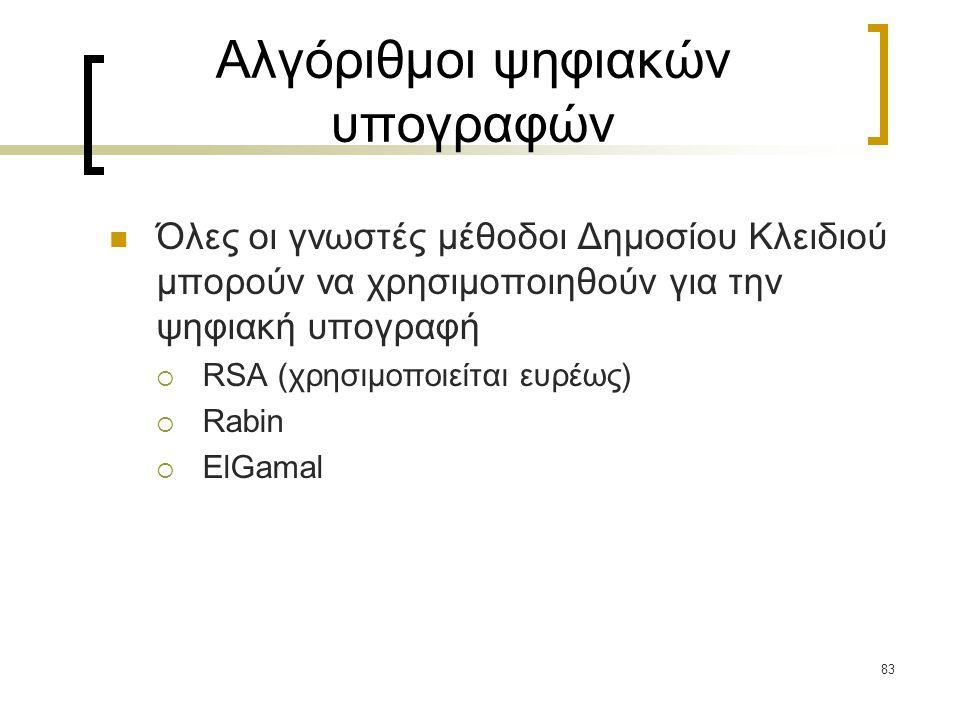 83 Αλγόριθμοι ψηφιακών υπογραφών Όλες οι γνωστές μέθοδοι Δημοσίου Κλειδιού μπορούν να χρησιμοποιηθούν για την ψηφιακή υπογραφή  RSA (χρησιμοποιείται ευρέως)  Rabin  ElGamal
