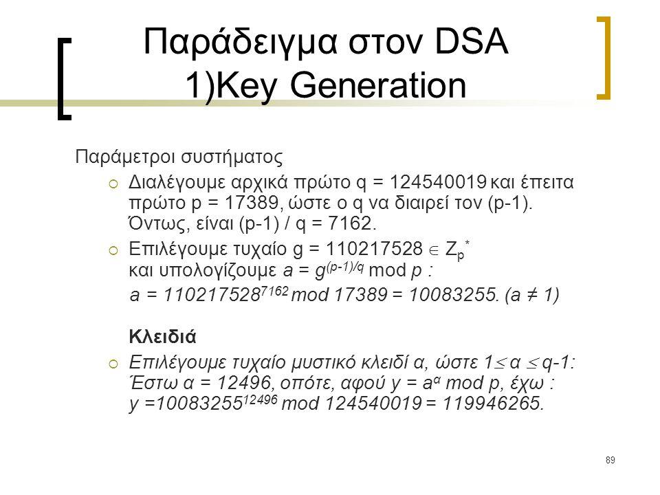 89 Παράδειγμα στον DSA 1)Key Generation Παράμετροι συστήματος  Διαλέγουμε αρχικά πρώτο q = 124540019 και έπειτα πρώτο p = 17389, ώστε o q να διαιρεί τον (p-1).