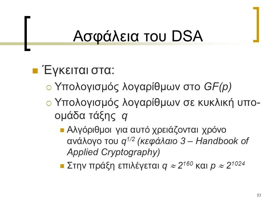93 Ασφάλεια του DSA Έγκειται στα:  Υπολογισμός λογαρίθμων στο GF(p)  Υπολογισμός λογαρίθμων σε κυκλική υπο- ομάδα τάξης q Αλγόριθμοι για αυτό χρειάζονται χρόνο ανάλογο του q 1/2 (κεφάλαιο 3 – Handbook of Applied Cryptography) Στην πράξη επιλέγεται q  2 160 και p  2 1024