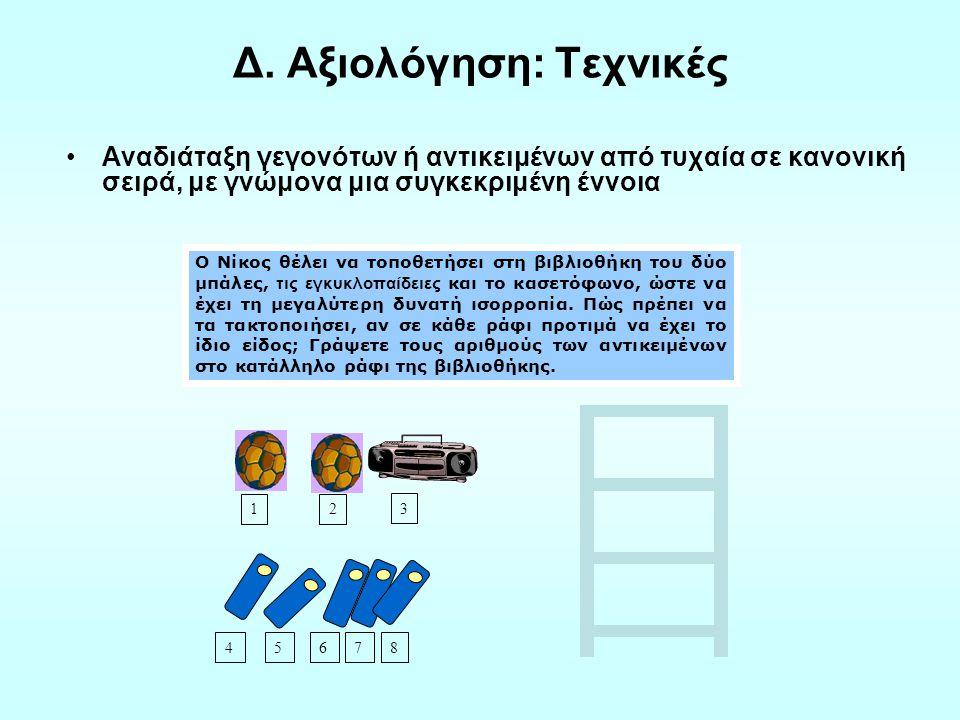 Αναγνώριση της ερώτησης που πρέπει να απαντηθεί για να δοθεί λύση στο πρόβλημα Προσδιορισμός των στοιχείων και της τεχνικής που απαιτούνται σε μια έρευνα Εξαγωγή και αξιολόγηση των συμπερασμάτων που έχουν προέλθει από τα δεδομένα στοιχεία Ανακοίνωση των συμπερασμάτων σε δεδομένα ακροατήρια Οπτικός γραμματισμός (κατασκευή και ανάγνωση γραφικών παραστάσεων και πινάκων) Αξιολόγηση ικανοτήτων Δ.