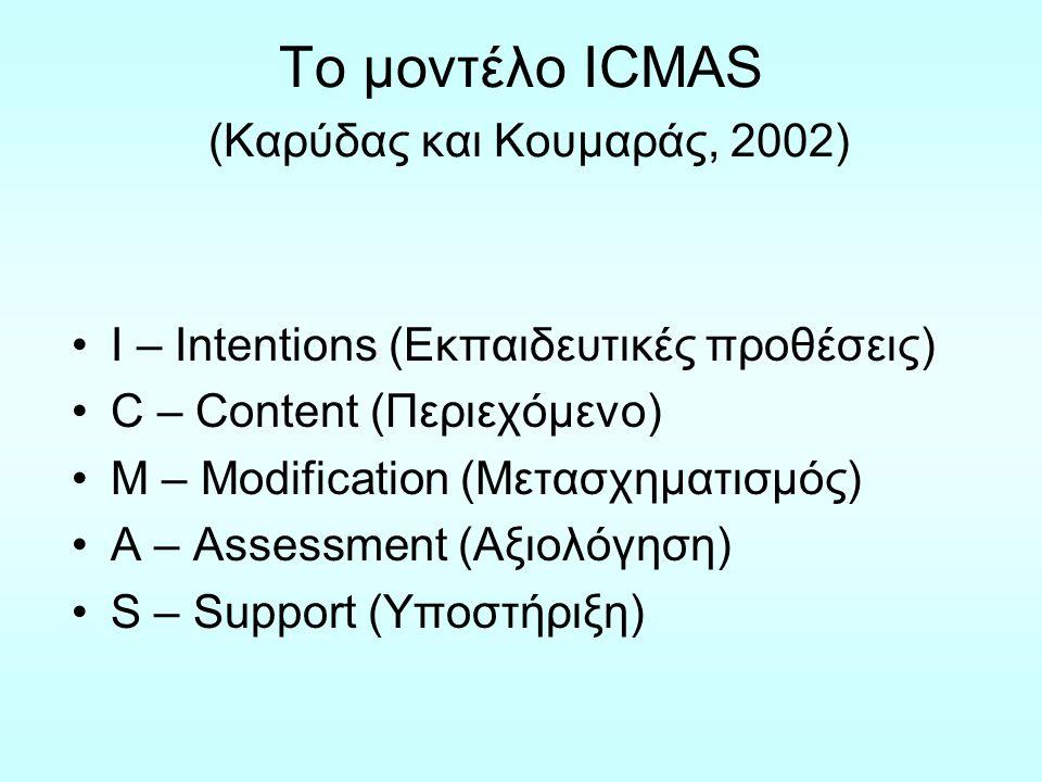 Το μοντέλο ICMAS ΕΠΙΠΕΔΑ ΑΠΟΦΑΣΕΩΝΣΥΝΙΣΤΩΣΕΣ Ι Εκπαιδευτικές Προθέσεις 1.