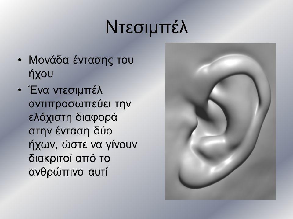 Ντεσιμπέλ Μονάδα έντασης του ήχου Ένα ντεσιμπέλ αντιπροσωπεύει την ελάχιστη διαφορά στην ένταση δύο ήχων, ώστε να γίνουν διακριτοί από το ανθρώπινο αυ