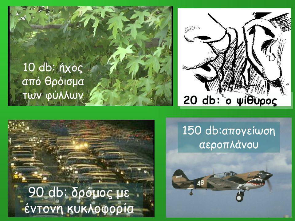 10 db: ήχος από θρόισμα των φύλλων 20 db: ο ψίθυρος 90 db: δρόμος με έντονη κυκλοφορία 150 db:απογείωση αεροπλάνου