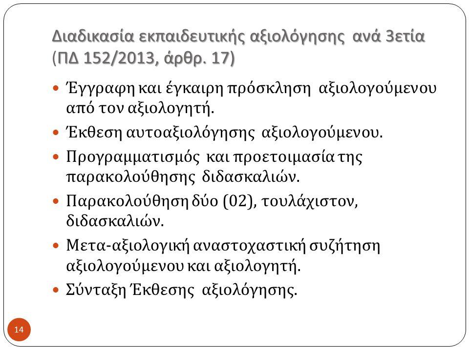 Διαδικασία εκπαιδευτικής αξιολόγησης ανά 3 ετία ΠΔ 152/2013, άρθρ.