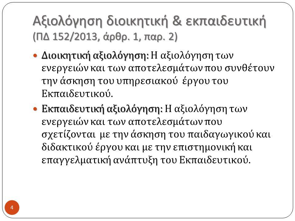 Αξιολόγηση διοικητική & εκπαιδευτική ( ΠΔ 152/2013, άρθρ.