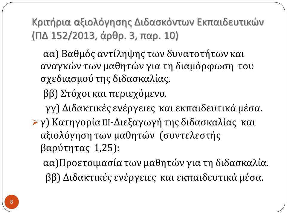 Κριτήρια αξιολόγησης Διδασκόντων Εκπαιδευτικών ( ΠΔ 152/2013, άρθρ.