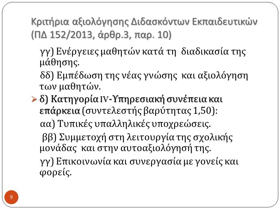 Κριτήρια αξιολόγησης Διδασκόντων Εκπαιδευτικών ( ΠΔ 152/2013, άρθρ.3, παρ.