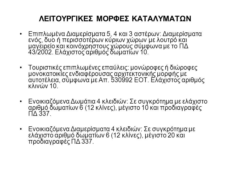 ΛΕΙΤΟΥΡΓΙΚΕΣ ΜΟΡΦΕΣ ΚΑΤΑΛΥΜΑΤΩΝ Επιπλωμένα Διαμερίσματα 5, 4 και 3 αστέρων: Διαμερίσματα ενός, δυο ή περισσοτέρων κύριων χώρων με λουτρό και μαγειρείο και κοινόχρηστους χώρους σύμφωνα με το ΠΔ 43/2002.
