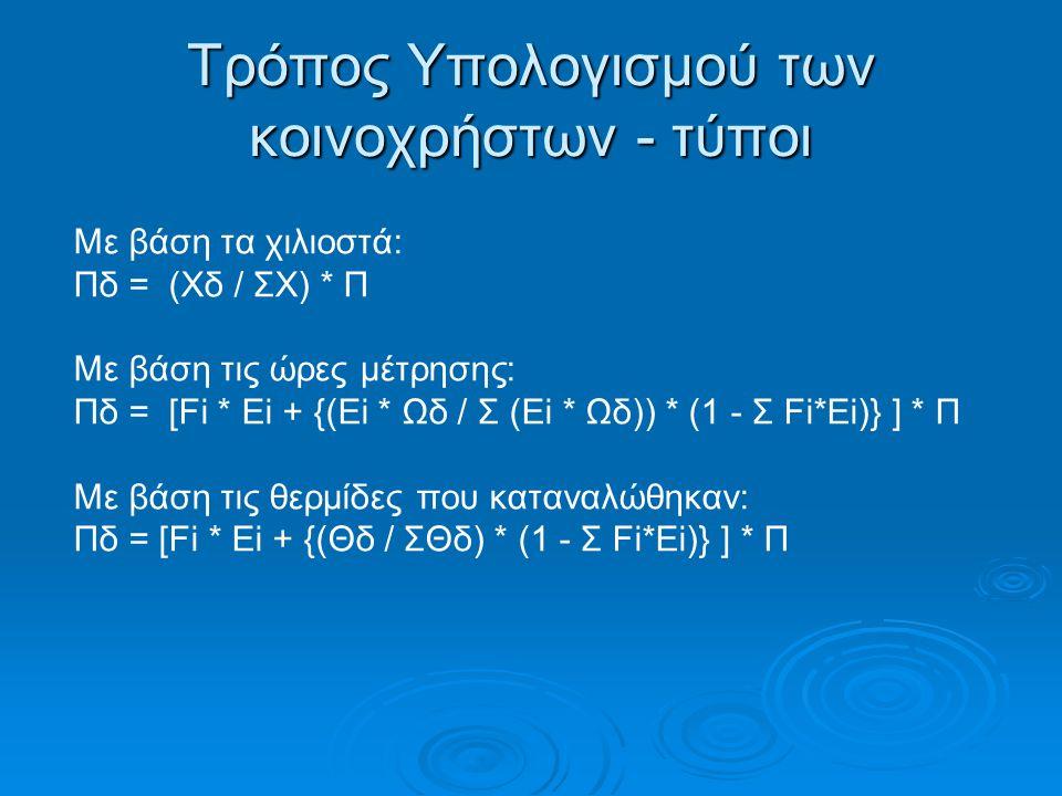 Τρόπος Υπολογισμού των κοινοχρήστων - τύποι Με βάση τα χιλιοστά: Πδ = (Χδ / ΣΧ) * Π Με βάση τις ώρες μέτρησης: Πδ = [Fi * Ei + {(Ei * Ωδ / Σ (Εi * Ωδ)) * (1 - Σ Fi*Ei)} ] * Π Με βάση τις θερμίδες που καταναλώθηκαν: Πδ = [Fi * Ei + {(Θδ / ΣΘδ) * (1 - Σ Fi*Ei)} ] * Π