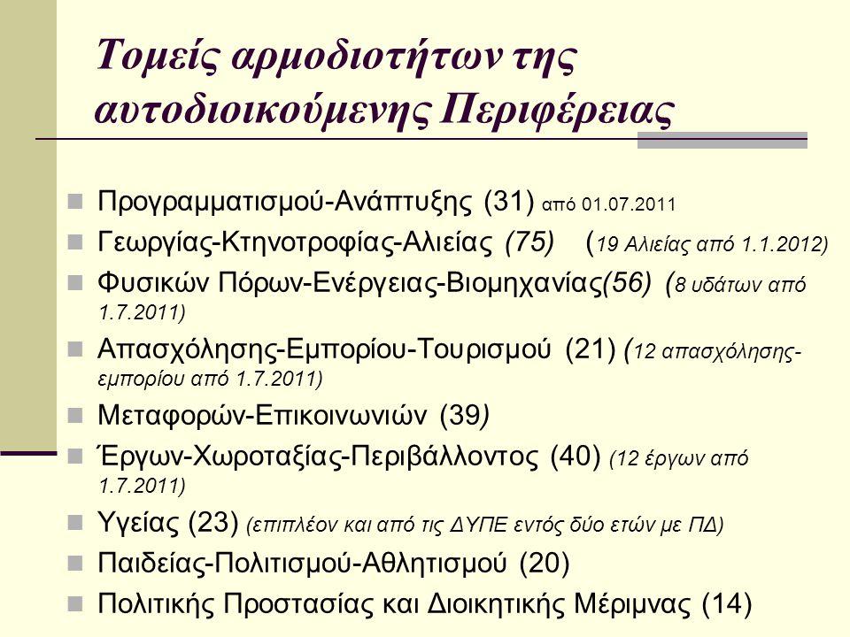 Τομείς αρμοδιοτήτων της αυτοδιοικούμενης Περιφέρειας Προγραμματισμού-Ανάπτυξης (31) από 01.07.2011 Γεωργίας-Κτηνοτροφίας-Αλιείας (75) ( 19 Αλιείας από 1.1.2012) Φυσικών Πόρων-Ενέργειας-Βιομηχανίας(56) ( 8 υδάτων από 1.7.2011) Απασχόλησης-Εμπορίου-Τουρισμού (21) ( 12 απασχόλησης- εμπορίου από 1.7.2011) Μεταφορών-Επικοινωνιών (39) Έργων-Χωροταξίας-Περιβάλλοντος (40) (12 έργων από 1.7.2011) Υγείας (23) (επιπλέον και από τις ΔΥΠΕ εντός δύο ετών με ΠΔ) Παιδείας-Πολιτισμού-Αθλητισμού (20) Πολιτικής Προστασίας και Διοικητικής Μέριμνας (14)