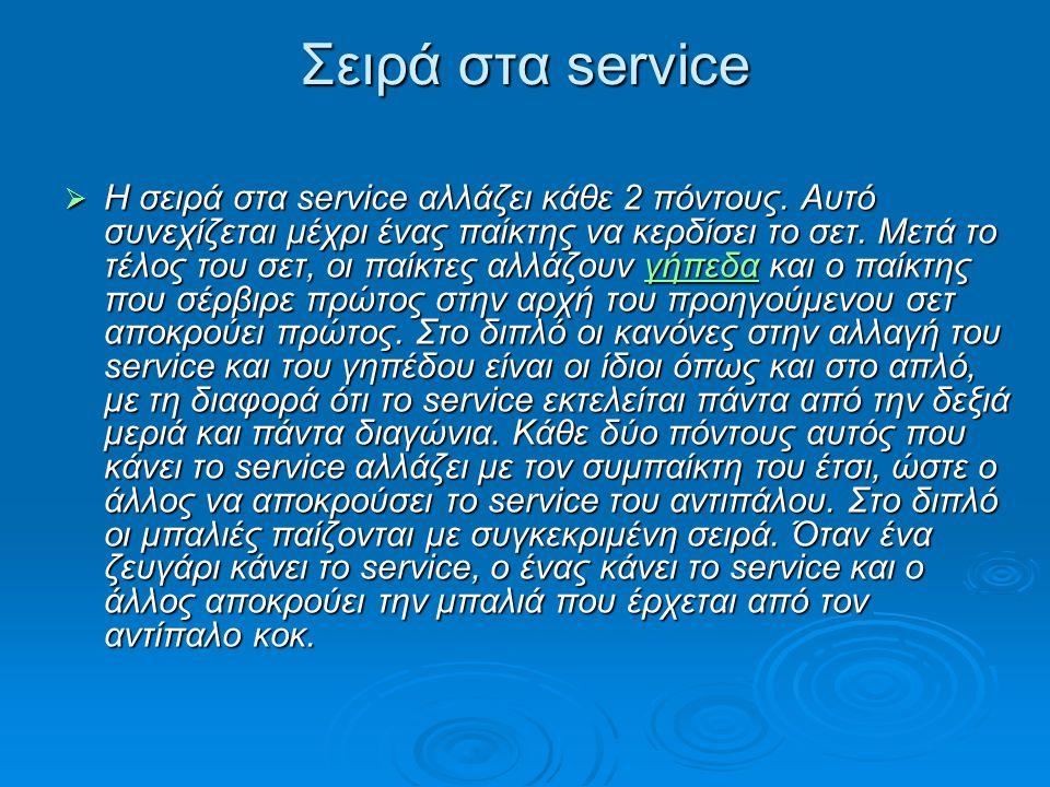 Σειρά στα service  Η σειρά στα service αλλάζει κάθε 2 πόντους. Αυτό συνεχίζεται μέχρι ένας παίκτης να κερδίσει το σετ. Μετά το τέλος του σετ, οι παίκ