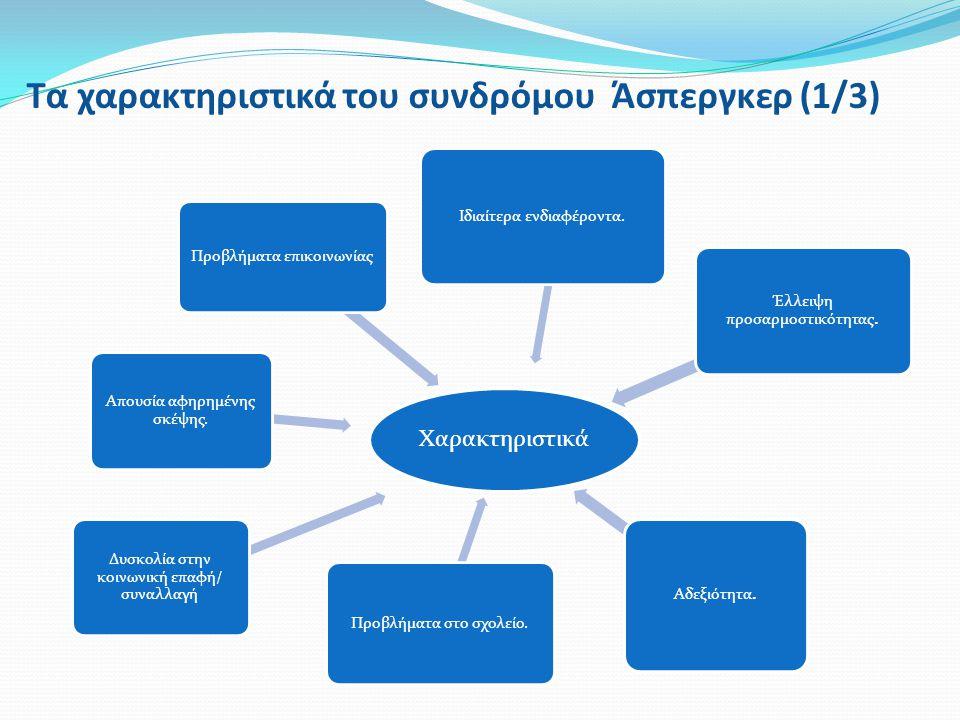 Τα χαρακτηριστικά του συνδρόμου Άσπεργκερ (1/3) Χαρακτηριστικά Δυσκολία στην κοινωνική επαφή/ συναλλαγή Απουσία αφηρημένης σκέψης. Προβλήματα επικοινω