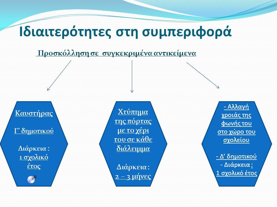 Ιδιαιτερότητες στη συμπεριφορά Προσκόλληση σε συγκεκριμένα αντικείμενα Καυστήρας Γ' δημοτικού Διάρκεια : 1 σχολικό έτος - Αλλαγή χροιάς της φωνής του στο χώρο του σχολείου - Δ' δημοτικού - Διάρκεια : 1 σχολικό έτος Χτύπημα της πόρτας με το χέρι του σε κάθε διάλειμμα Διάρκεια : 2 – 3 μήνες